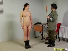 Dildo and nosebag for a lesbian soldier