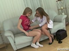 Nude lesbian exam of an obedient patient