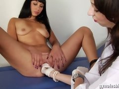 Medical lezzie carries out a gyno examination