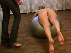Naked flexy blondie trained by a lesbian coacher