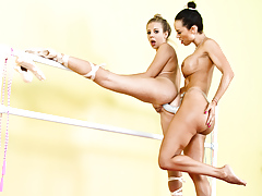 Two ballerina are doing some lesbian strap-on anal smoking
