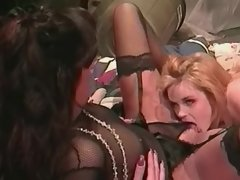 Lesbian licking wet pussy in garage